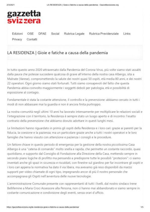 LA RESIDENZA _ Gioie e fatiche a causa della pandemia - Gazzettasvizzera.org_page-0001