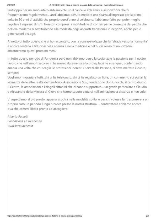 LA RESIDENZA _ Gioie e fatiche a causa della pandemia - Gazzettasvizzera.org_page-0002